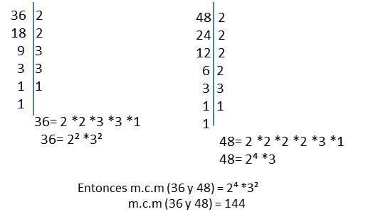 mínimo común múltiplo 36 y 48