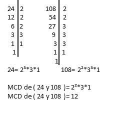 M.C.D de 24 y 108