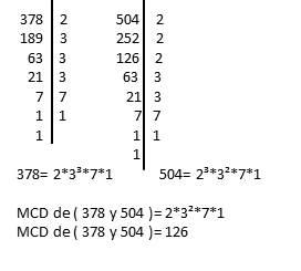 MCD de 378 y 504