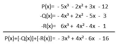 Resta de polinomios P(x)-Q(x)-R(x)