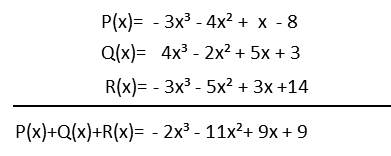 Suma de polinomios P(x) + Q(x) +R(x)