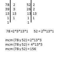 mínimo común múltiplo 78 y 52